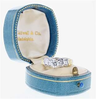 Platinum Deco Style Engagement Ring