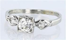 18K White Gold European Cut Diamond Ring