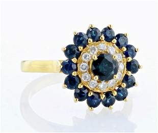 18K Sapphire Diamond Cocktail Ring