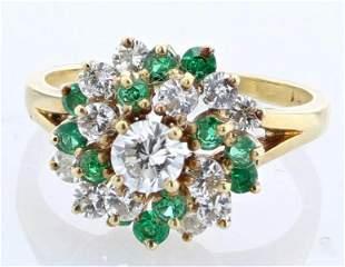18K Diamond Emerald Cocktail Ring