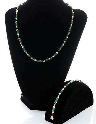 14K Malachite Bracelet and Necklace Set