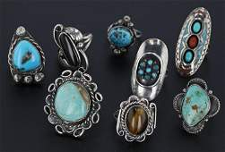 (8) Southwestern Silver Rings