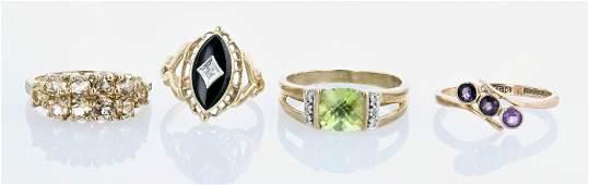 (4) Gemstone RIng Lot