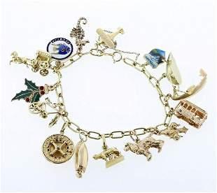 18K Mixed Gold Charm Bracelet