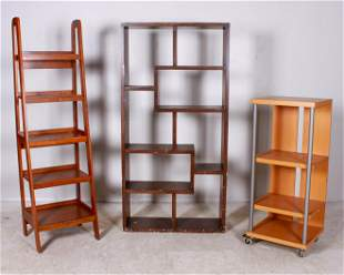 (3) Walnut etagere, ascending etagere, shelf unit on