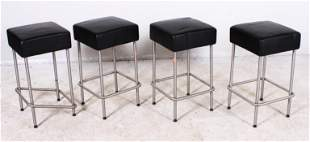 (4) Ikea bar stools, black upholstered seats