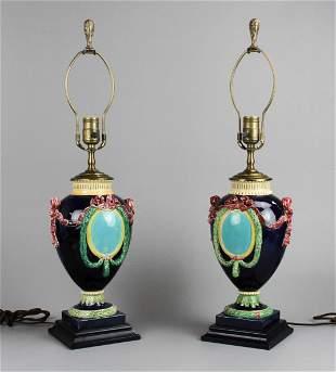 Pair porcelain urn form table lamps