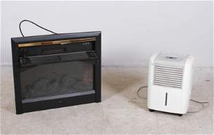 (2) Electric faux fireplace and Frigidaire 25 pint