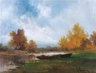 H Harding Lakeside Landscape