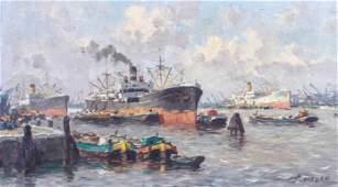 """Jan van Delden """"Steamship in Harbor"""""""