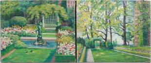 "(2) Elizabeth Fisher Washington Ptgs ""The Garden"""