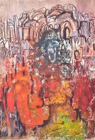 Signed Israeli Cityscape Painting