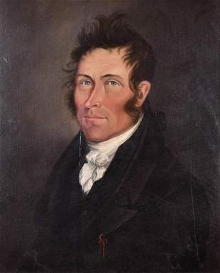 19th C American School Portrait Painting