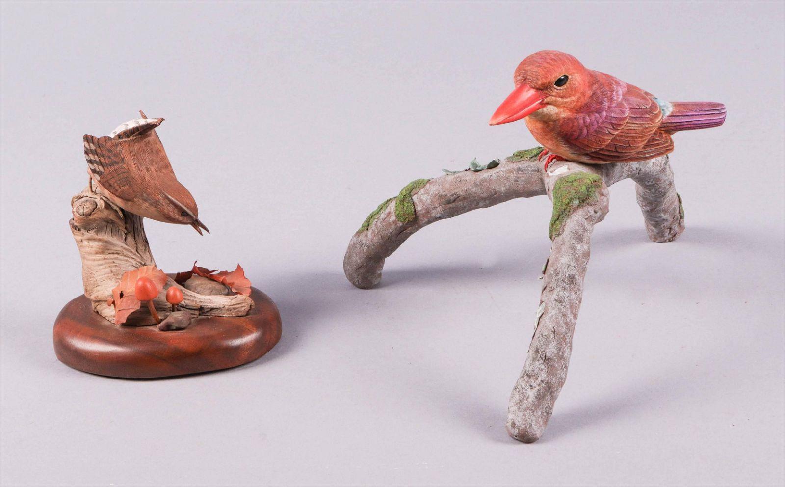 (2) Carved Wood Bird Figures