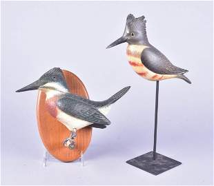 (2) Ken Kirby Carved Wood Kingfisher Figures