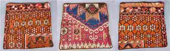 (3) Velvet and Vintage Kilim Pillow Cases