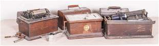 (3) Edison cylinder phonographs for restoration