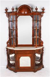Victorian Rosewood Renaissance Revival Hooded Etagere