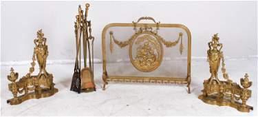 Gilt Bronze French Chenet Set