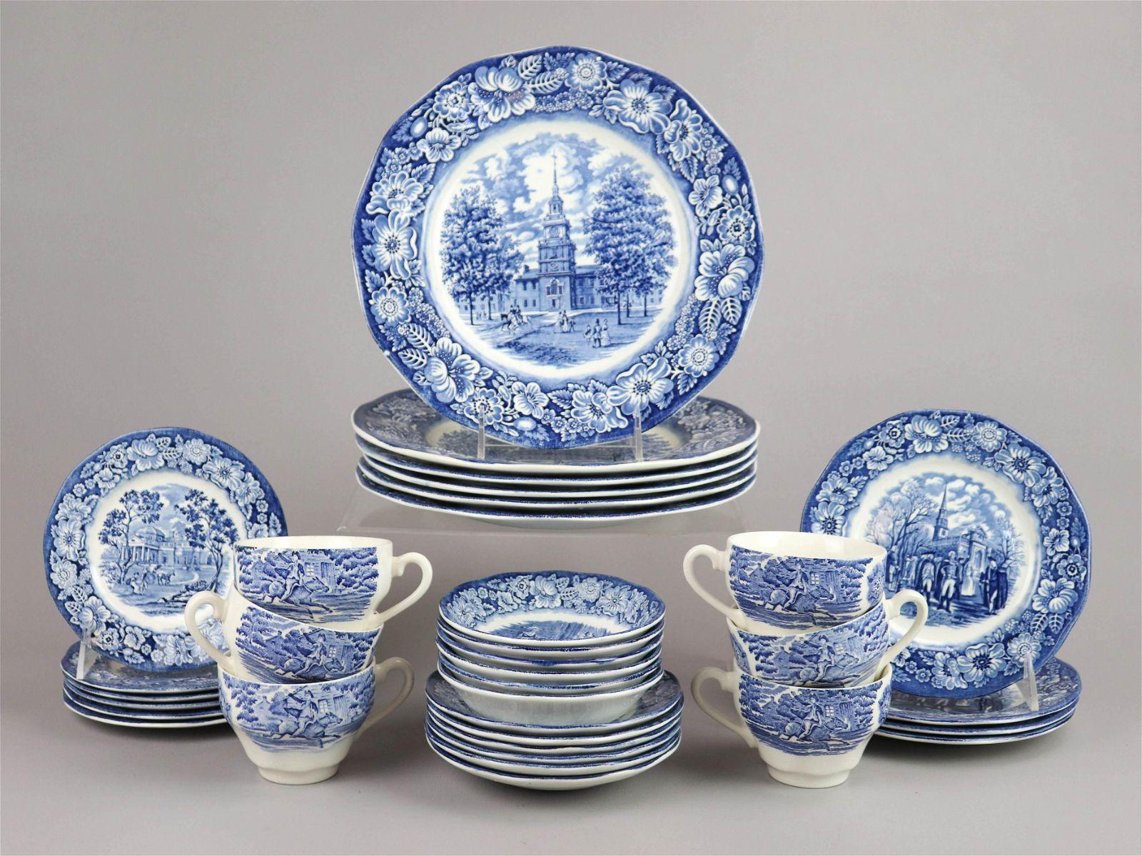 (34) Pcs Staffordshire Ironstone 'Liberty Blue'