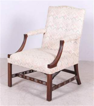 Mahogany Chinese Chippendale Style Lolling Chair