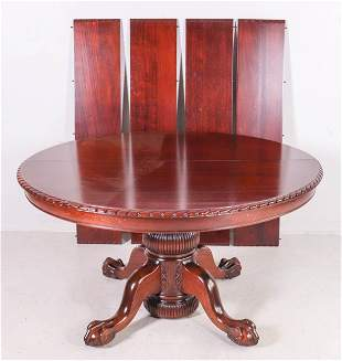 Round Mahogany Victorian Pedestal Dining Table, 4 Leave