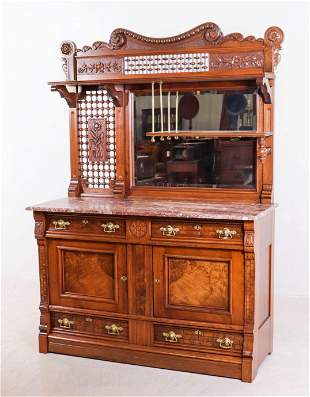 Carved and burl walnut Aesthetic marbletop sideboard