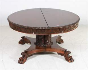 Carved Mahogany Pedestal Federal Revival Dining Table