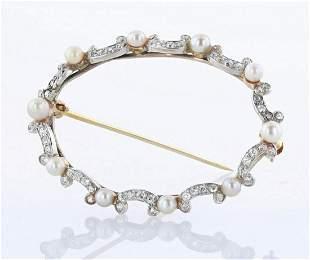 14K and Platinum Pearl Diamond Oval Brooch