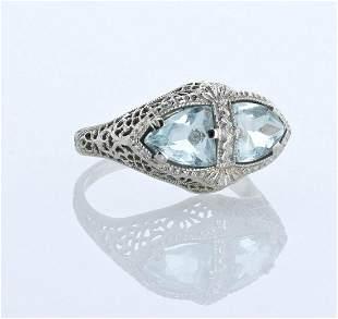 14K Belais WG Aquamarine Ring