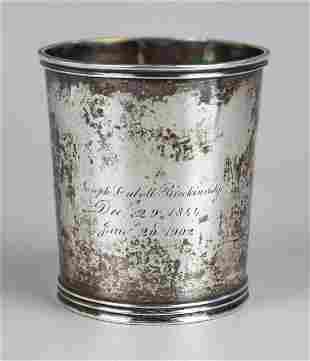 Kentucky Coin Silver Mint Julep Cup, 1844
