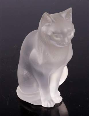 Lalique Crystal Seated Cat