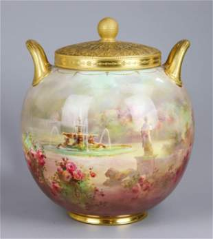 19th c. Royal Doulton Edward Raby Covered Urn