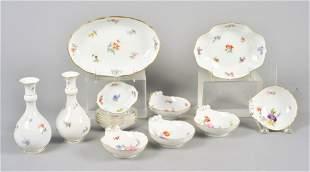 (15) Pcs Meissen Floral Decorated Tableware