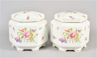 (2) Meissen Floral Decorated Hexagonal Ginger Jars
