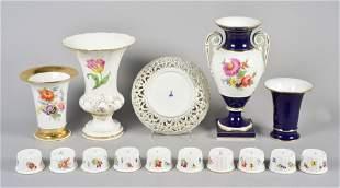 (3) Meissen Floral Decorated Vases