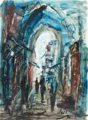 "Zvi Raphaeli Painting ""Street in Jerusalem"""