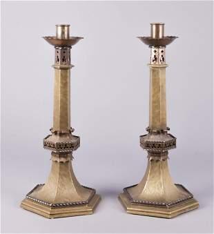 Continental Cast Bronze Candlestick Pair