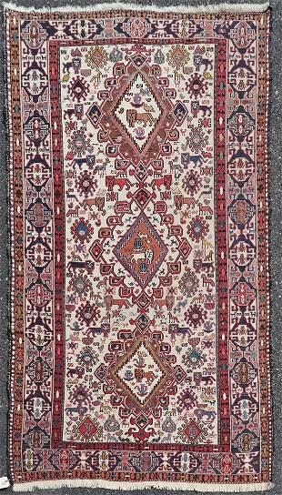 """3'10"""" X 6'7"""" Antique Caucasian Soumak Rug"""