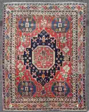 """3'11"""" X 5'3"""" Antique Caucasian Shirvan Rug"""
