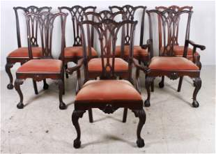(8) carved mahogany Chippendale style dining room