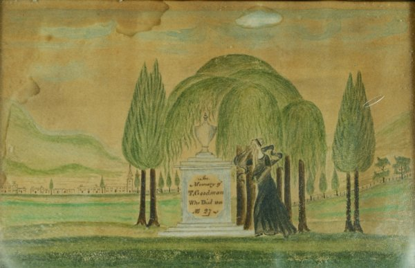 """31: Mourning folk art watercolor, inscribed  """"In Memory"""