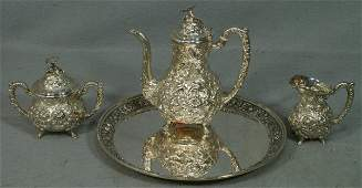 75: Stieff Floral Repousse sterling silver 3 pc teaset,