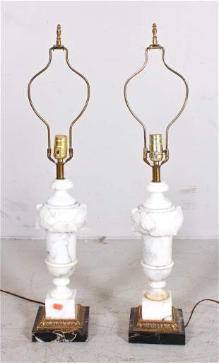 Pair Marble urn form table lamps