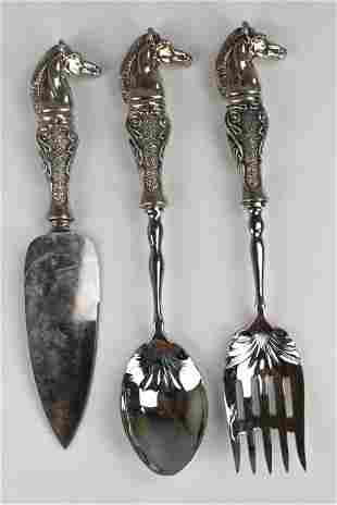 (3) Sterling Clad Horse Handled Serving Articles