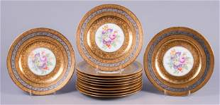 (12) Hutschenreuther Gold & Silver Place Plates