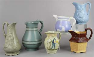 (6) Ironstone and Parian Pitchers