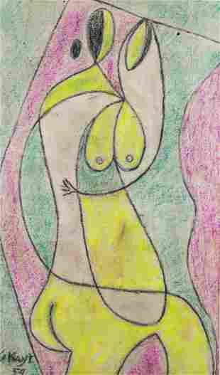 """George Keyt pastel drawing """"Lovers"""""""