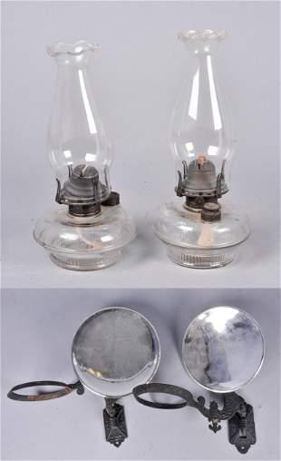 Oil Lamp and Bracket Pair