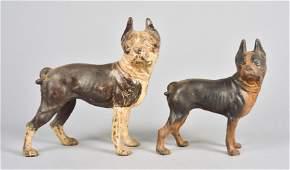 (2) Cast Iron Boston Terrier Doorstops